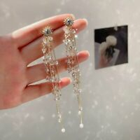 Fashion Women Long Tassel Crystal Pearl Stud Earrings Dangle Drop Korean Style
