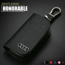 Cross Pattern Leather Car Remote Key Chain Holder Case Bag Fit For Audi Auto