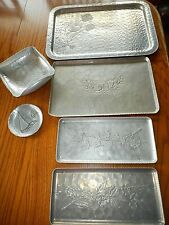 VTG  6 pcs trays, coaster, bowl Aluminum Farberware, Forge, Federal, Rodney Kent