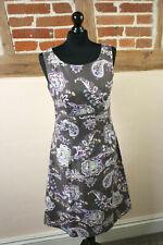 Laura Ashley Paisley Taupe A-Line Linen Blend Dress Size 10