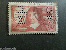 FRANCE 1937, timbre PERFORE' 341 DESCARTES, oblitéré,  USED PERFIN