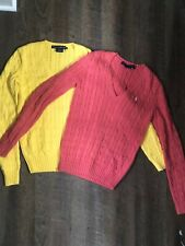 Lot 2 Polo Ralph Lauren Women's Cotton Cable Knit Sweater - Small