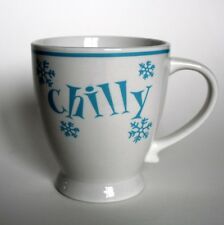"My Christmas ""Chilly"" Holiday Coffee Cocoa Mug Cup 12oz Blue Snowflakes EUC"