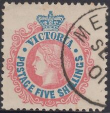 Stamp 5/- blue & red sideface Victoria cancelled to order 1901, MUH original gum