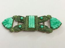 ANTIQUE ART DECO BRASS & PEKING GLASS BUCKLE BY NEIGER BROTHERS 1920