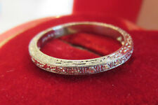 PLATINUM ANTIQUE VINTAGE ART DECO FLORAL DIAMOND WEDDING ETERNITY BAND RING