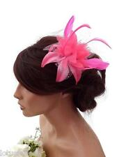 Pink Spotty Net Flower Fascinator On a Hair Clip Grip with Feathers