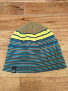 Arc'teryx Beanie Wool Blend Striped Blue Green EUC