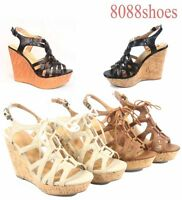 Women's Fashion Open Toe Strappy Platform Wedge Sandal Shoes Size 5 - 11 NEW