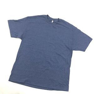 Alstyle Plain Shirt Blue Polyester Blend Classic Loose Minimal Casual Tee 1X XL