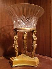 "Antique French Egyptian Revival 1800""s  Empire Baccarat Gilt Bronze Centerpiece"