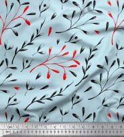 Soimoi Azul popelina de algodon Tela semillas fresno europeo hojas-wYy