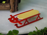Miniature Dollhouse FAIRY GARDEN Accessories ~ TINY Red Metal Sled ~ NEW