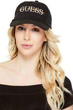 GUESS BASEBALL CAP Womens Black Logo Embroidered Adjustable Hat Headwear NWT