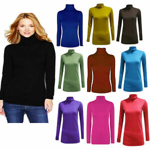 LADIES WOMENS POLO NECK TOP STRETCH LONG SLEEVE JUMPER TURTLE NECK  TOP 8-26