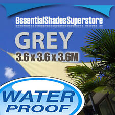 WATERPROOF TRIANGLE GREY 3.6x3.6x3.6 SUN SHADE SAIL AWNING 3.6 x 3.6 x 3.6m