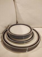 Mikasa Bone China Noir Circa 1978-88 Dinner, Bread, Salad Plates