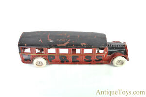 """Arcade Cast Iron Red """"Fageol Safety Coach"""" Bus"""