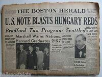 June 6, 1947 Boston Herald Newspaper: Humphrey Bogart Raleigh Cigarettes Ad, etc