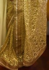 Bollywood Indian Latest Design Gold Colour Full Net Saree  Party/wedding Were