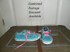 Blue Vans Canvas Trainers With Pink Check Laces Kids Size 10