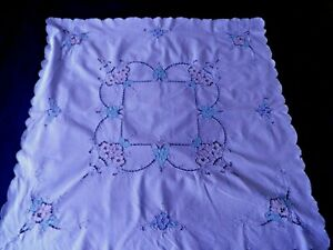 """VINTAGE CUTWORK TABLE CLOTH  with BASKETS OF FLOWERS - 30"""" by 30"""""""