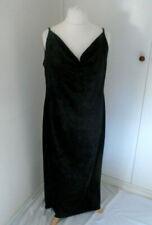 Anna Morelle Black Crushed Velvet Evening Dress Plus Size 20 Draped Smart Long