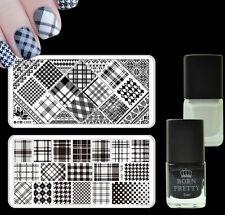 Grids Theme Nail Art Stamp Plates Kit Black White Color Stamping Polish Varnish
