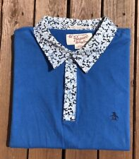 Penguin By Munsingwear Heritage Slim Fit Polo Shirt Blue/With Detail /Size M.