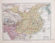 STANFORD 1889 Main Coloré Carte Chine Taiwan Burma Tibet Hai-Nan Tong King