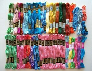 LOT of 56 Skeins DMC Cotton Embroidery Floss Thread solid & variegated colors