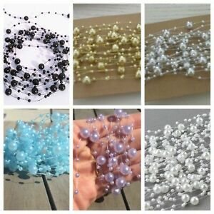 Pearl Garland 5m Acrylic Beads String Garland Wedding Table Decor Bouquet Hair