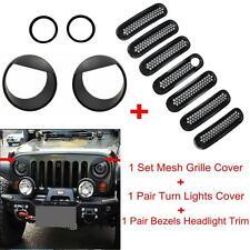 Mesh Grille Insert Key Hole Headlight Fog Lights Trim Cover For Jeep Wrangler JK