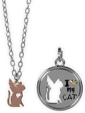 Angel Cat Pendant Necklace Pet Charm Set I Love My Cat Tag 20 Inch Chain New