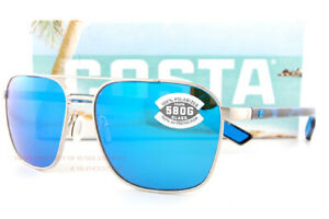 New Costa Del Mar Sunglasses WADER Brushed Silver Blue Mirror 580G Polarized