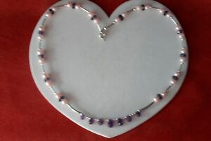 BEAUTIFUL SILVER NECKLACE & EARRING SET WITH AMETHYST & PEARLS IN GIFT BOX