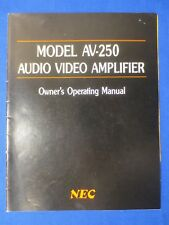 New listing Nec Av-250 Amplifier Owners Operating Manual Factory Original The Real Thing