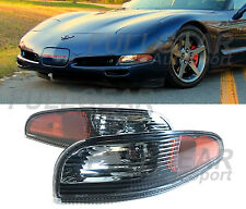 BLACK w/ CLEAR LENS BUMPER SIGNAL LIGHTS PAIR FOR CHEVY CORVETTE C5 1997-2004