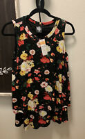 NWT Agnes & Dora Black Floral Tiered Tunic Ruffle Tank Top Sleeveless S Small