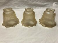 SET OF 3 GLASS GLOBES AMBER WITH DETAIL CEILING FANS LIGHTS