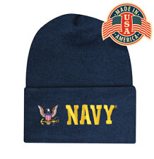 Embroidered Blue Navy Military Eagle Logo Beanie Stocking Watch Cap Hat Licensed