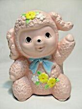 Vtg Inarco Japan Big Eyed Pink Lamb Planter-Anthropomorphic Baby Nursery NM