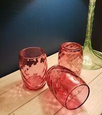 Fenton LG Wright Diamond Optic Cranberry Ruby Barrel Low-Ball Glass Tumblers