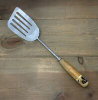 Vintage EKCO Angled Spatula Turner Slotted A & J Chrome Plated Wood Handle USA