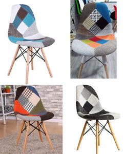 4 ×  patchwork chair Designer scandinavian Retro Chair Set of 4 modern chairs