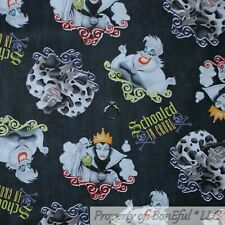 BonEful Fabric Cotton Quilt B&W Disney Witch Maleficent Dalmatian LAST SCRAP