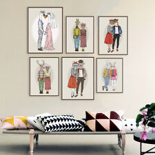 Fashion Animals Deer Lovers Couple Poster Wedding Decor Wall Art Canvas Painting