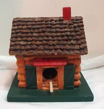 Vintage Midwest Of Cannon Falls Bird House Log Cabin Pine Cone Roof