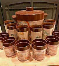 Vintage Thermo Serv Magellan Maps Ice Bucket Tumbler Glasses 14 Piece Set Bar