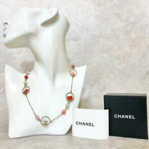 Chanel Coco Heart Circle Motif Pearl Chain Color Necklace